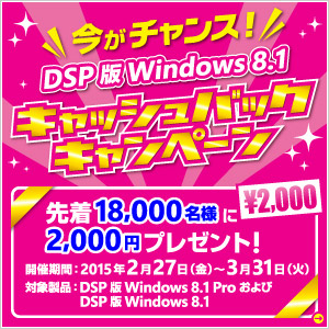 �u�����`�����X�I�vDSP �� Windows 8.1�L���b�V���o�b�N�L�����y�[��